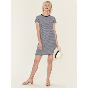 ATM Stripe Jersey Short Sleeve T-Shirt Dress XS